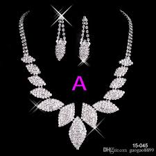 crystal silver necklace images New crystal silver rhinestone necklace earrings jewelry sets girl jpg