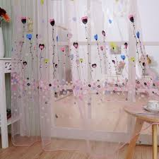 cute balloons flowers voile curtains divider window curtain drap