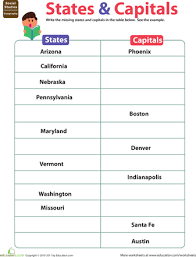 bunch ideas of states and capitals worksheets on reference