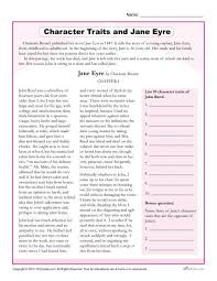 character traits worksheets jane eyre
