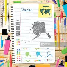 Alaska Maps alaska maps hand drawn on notebook wooden background vector art