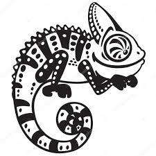 cartoon chameleon black and white u2014 stock vector insima 87337776