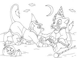 kiara and kovu halloween coloring page by volpeartica08 on deviantart