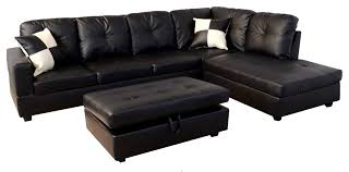 Sectional Sofa With Ottoman Black Faux Leather Sectional Sofa With Storage Ottoman Sectional