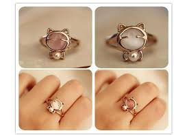 eye shaped rings images Sweet cat shape crystal rings with white pearl for girls women jpg