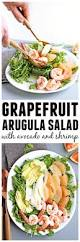 grapefruit arugula salad with avocado and shrimp rhubarbarians