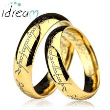 wedding ring gold gold lotr laser engraved tungsten wedding bands set domed