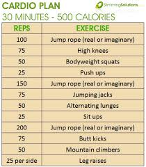 easy workout plans at home 30 minute 500 calorie cardio exercise plan slimming solutions