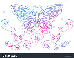 handdrawn butterfly swirls sketchy doodles vector stock vector