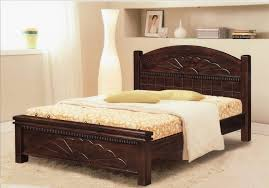 simple brown wooden bed frame with fancy brown and white leather