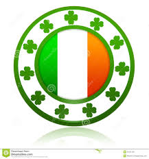 Flag Circle Irish Flag In Circle With Shamrocks Stock Illustration