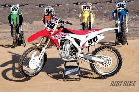 2014 motocross bikes dirt bike magazine 450 mx shootout how they really rank