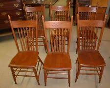 Oak Spindle Back Dining Chairs Antique Pressback Chairs Ebay