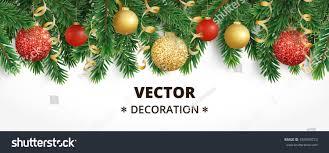horizontal banner christmas tree garland ornaments stock vector