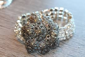 crystal rhinestone cuff bracelet images Crystal rhinestones cuff bracelet repurposed silver filigree jpg