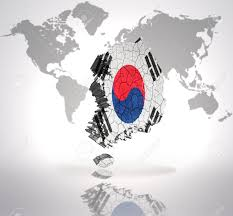 World Map Korea Map Of South Korea With Korean Flag On A World Map Background