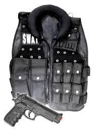 Swat Halloween Costumes Women Police Swat Vest Halloween Costume Toy Gun Men Size