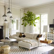 decor french living room with sectional white sofa and golden