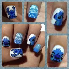 lilo and stitch nailart blue and white nails ohana means family