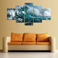 2017 canvas print wave painting for living room wall art