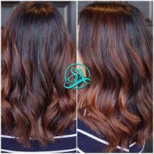dark brown and cinnamon balayage greenville hair salon balayage