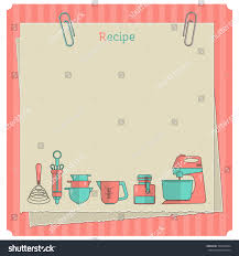 sweet recipe vector card template kitchen stock vector 304709834