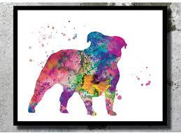 bulldog watercolor art print dog watercolor dog painting dog