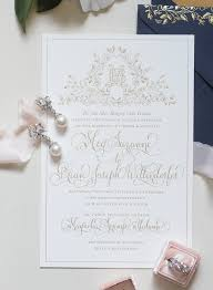 round wedding invitations regal navy and gold foil calligraphy wedding invitations