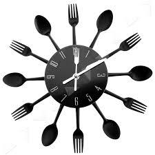 modern design style cutlery kitchen utensil wall clock spoon fork