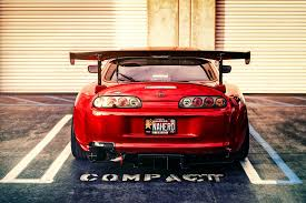 Desktop Toyota Supra Red Sports Car Rear View Tuning Hd With Best