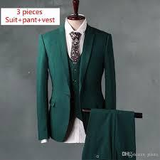 2017 green slim fit men suit set luxury brand men suit jacket pant