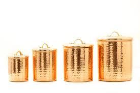 kitchen canister set hammered copper coffee tea sugar storage jar