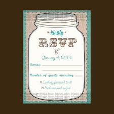 template mason jar rsvp cardtealrustic weddingburlap lace