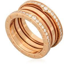 golden ferrari with diamonds bvlgari b zero1 18k pink gold 4 band diamond pave ring size 6 25