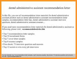 dental assistant recommendation letter dental assistant resume