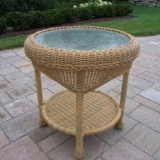 round wicker end table shop oakland living resin wicker 21 5 in w x 21 5 in l round wicker