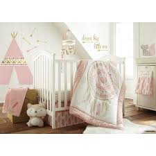 Gold Crib Bedding by Levtex Baby Little Feather 5 Piece Crib Bedding Set Coral