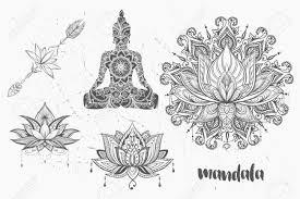 yoga tattoo pictures mandala set and other elements vector mandala tattoo boho