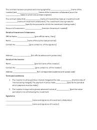 investment contract template contract agreements formats u0026 examples