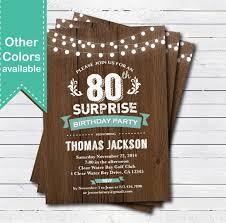 invitations for 80th birthday surprise party birthday invitation