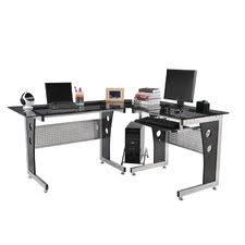 Mezza L Shaped Desk Modern Computer Desk Modern Computer Desk In Walnut With