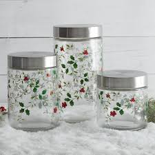 stainless steel kitchen canister set of 3 glass canisters with stainless steel lids pfaltzgraff