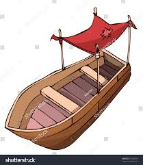 Awning Boat Wooden Boat Red Awning Protection Sun Stock Vector 233682973