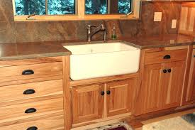 natural wooden hickory kitchen cabinets design ideas with white