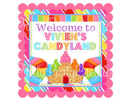 candy land welcome sign 8x8 you print 2 to choose dots