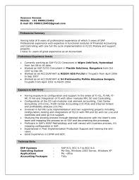Sap Fico Sample Resume 3 Years Experience Resume Format For Sap Fico Freshers