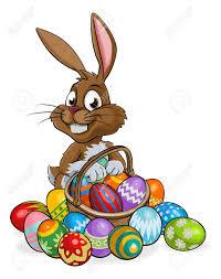 easter egg basket easter bunny rabbit holding an easter eggs basket