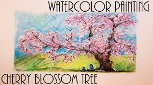 blossom trees quick watercolor painting cherry blossom tree youtube