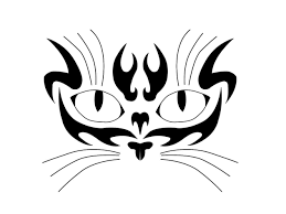 tribal cat face silhouette tattoo designs pin cute s moon eyes