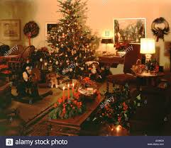 home living room decorated for christmas holidays with lighted